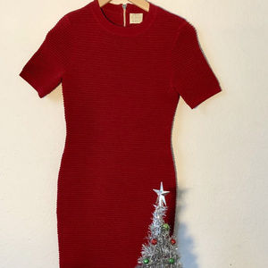 Torn by Ronny Kobo, Red Ribbed Dress, Sz Small